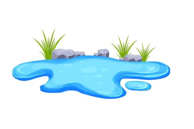 Kałuża wody stawowej z trawą i kamieniami w stylu kreskówki