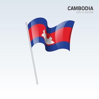 Kambodża macha flagą odizolowaną na szaro