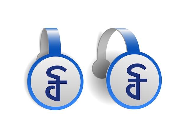 Kambodżański symbol riel na niebieskich woblerach reklamowych. projekt ilustracji znaku waluty kambodży na etykiecie transparentu. symbol jednostki monetarnej. ilustracja na białym tle