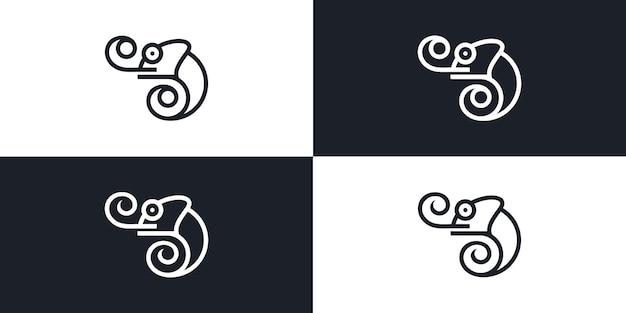 Kameleon Ilustracyjny Wektor Graficzny Projektowania Logo Premium Wektorów