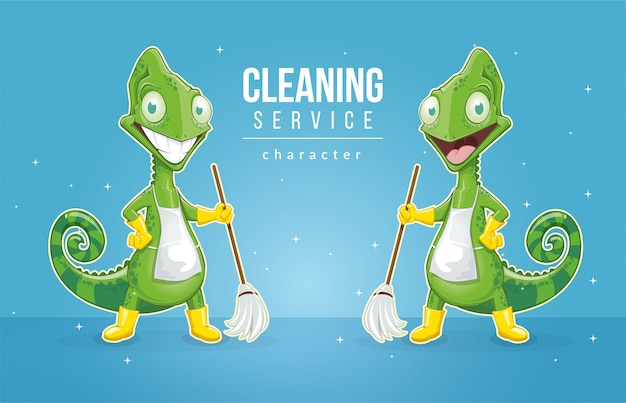 Kameleon jako postać dla firmy sprzątającej