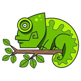 Kameleon na gałęzi, ilustracji wektorowych.