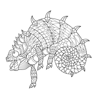 Kameleon rysowane w stylu doodle