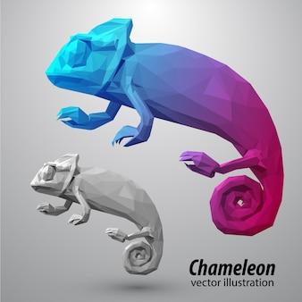 Kameleon z kolorowych trójkątów.