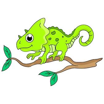 Kameleon znajduje się na gałęzi rośliny. ilustracja kreskówka śliczna naklejka