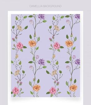 Kamelia fioletowe tło akwarela
