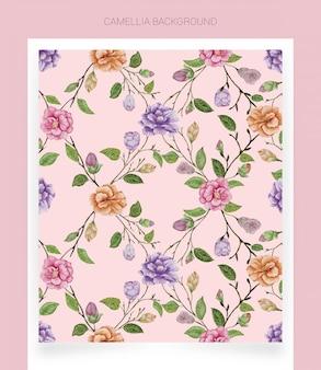 Kamelia różowy tło akwarela