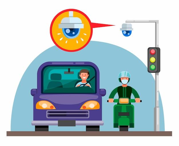 Kamera cctv na sygnalizacji świetlnej na ulicy z koncepcją samochodu i motocykla w płaskiej ilustracji kreskówka