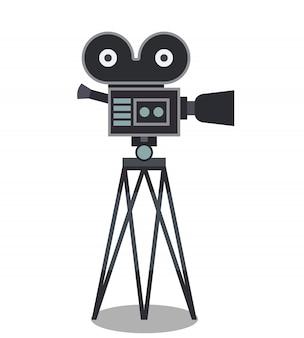 Kamera filmowa na statywie kolor ilustracja