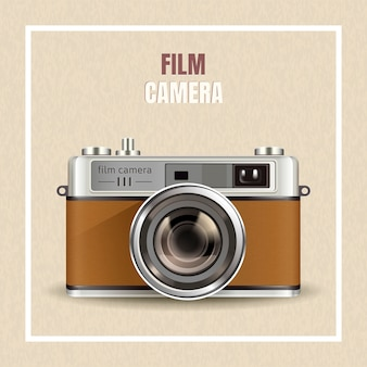 Kamera filmowa retro, realistyczny aparat w ilustracji jako elementy