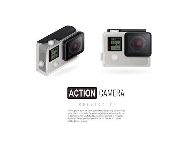 Kamera sportowa izometryczny odizolowana kamera na białym tle idź pro