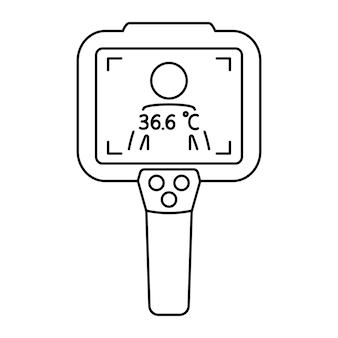 Kamera termowizyjna. kontrola temperatury ciała za pomocą kamery termowizyjnej na podczerwień. systemy termowizyjne. skanuj temperaturę ludzi. wykrywanie koronawirusa. pomiar gorączki. wektor na białym tle