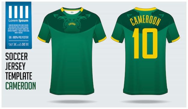 Kamerun koszulka piłkarska makieta lub zestaw piłkarski.