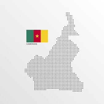 Kamerun mapa projektu z flagą i tło wektor światło