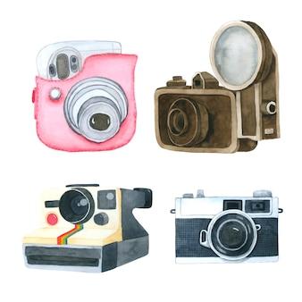 Kamery akwarela kolekcja na białym tle