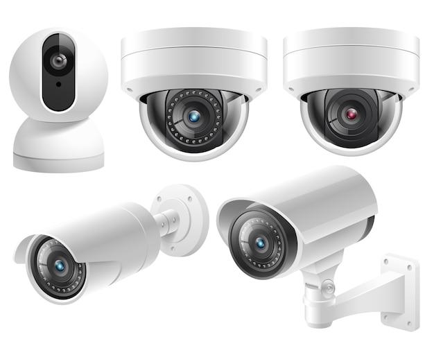 Kamery bezpieczeństwa w domu systemy nadzoru wideo na białym tle ilustracja