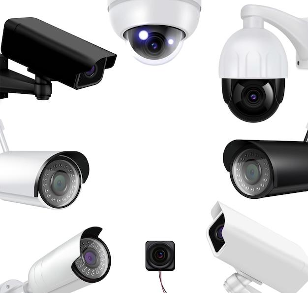 Kamery nadzoru wideo realistyczna kompozycja czarno-białe kamery tworzą okrągłą ilustrację