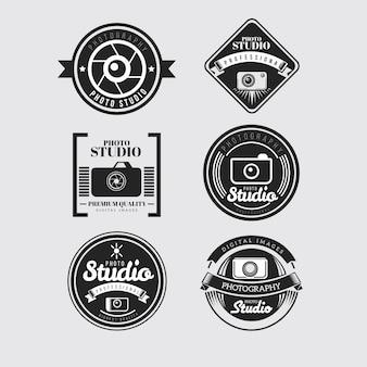 Kamery retro odznaki w kolorze czarnym