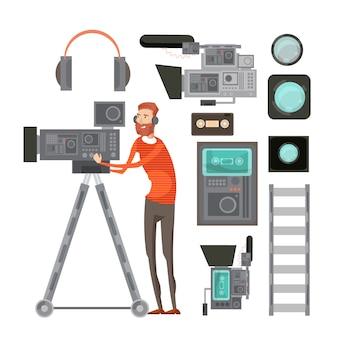 Kamerzysta filmowy ze sprzętem wideo, w tym filtry słuchawek taśmy do obiektywu vhs gracza na białym tle ilustracji wektorowych