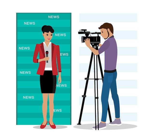 Kamerzysta filmujący reportera