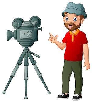 Kamerzysta w czerwonej koszuli na białym tle