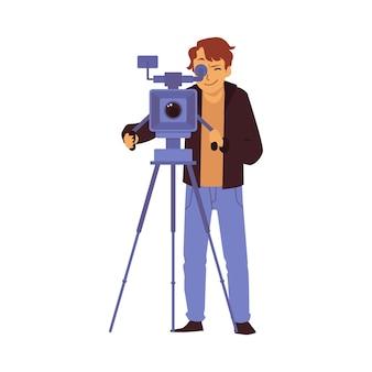 Kamerzysta z kamerą filmujący program telewizyjny lub film płaską ilustrację