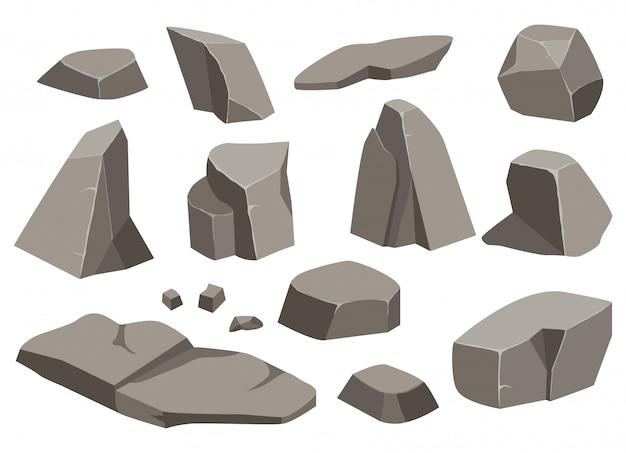 Kamień duży kamień kreskówka. zestaw różnych głazów. kostka brukowa o różnych kształtach.
