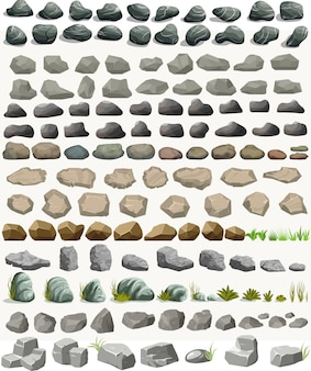 Kamień rockowy z kreskówki trawy w stylu płaski.