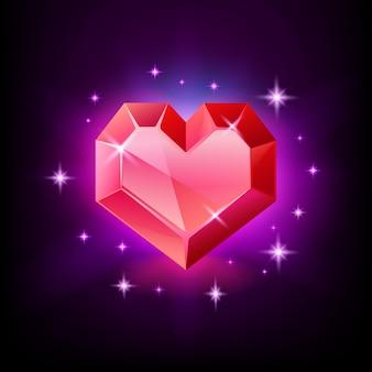 Kamień szlachetny, granat lub rubin w kształcie serca z czerwonym sercem. błyszcząca ikona kamienia na czarno