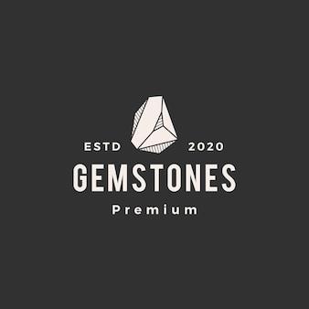 Kamień szlachetny hipster logo vintage