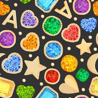 Kamienie jubilerskie i złote akcesoria bezszwowe wzór. moda tło z luksusowych klejnotów, diamentów, szmaragdów, rubinów i kryształów. ilustracja wektorowa