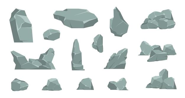 Kamienie kreskówka. rysunkowy stos kamieni, elementy żwiru i głaz granitowy, płaski beton izometryczny