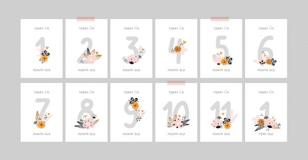 Kamienie milowe dla dzieci z kwiatami i liczbami dla noworodka lub chłopca. nadruk baby shower