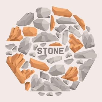 Kamienie skalne kreskówka płaski skład. kamienie i skały w isometric 3d projektują wektorową ilustrację. zestaw głazów o innym kształcie i kolorze.