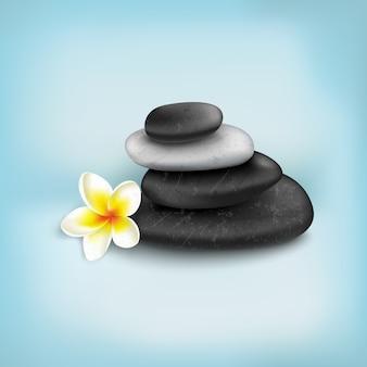 Kamienie spa z egzotycznym tropikalnym kwiatem