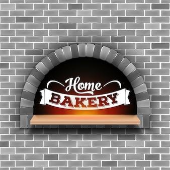 Kamienna cegła, piec na drewno opałowe do pizzy, piekarnia domowa.