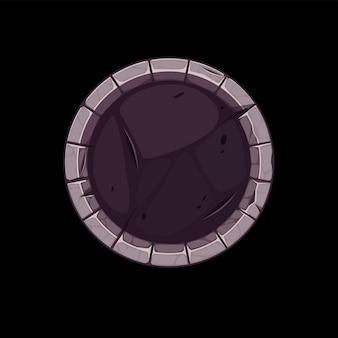 Kamienna granica gui dla ikony aplikacji, okrągły szary stary szablon awatara do gry.