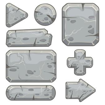 Kamienna rama. sztandar skały gruz, kamienie blokują strzały i żwir skały tablet ramki na białym tle zestaw