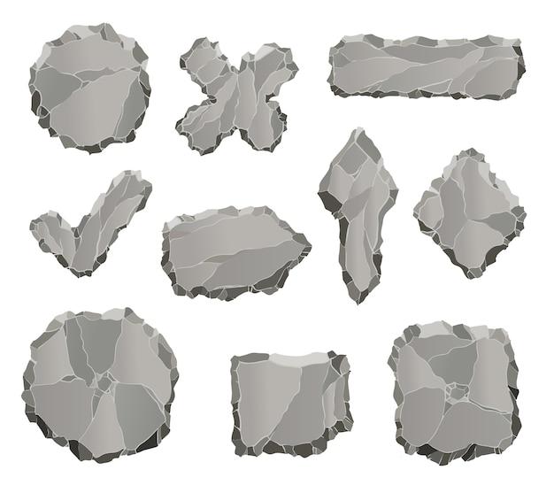 Kamienne elementy gry. cartoon rockowe elementy interfejsu użytkownika, takie jak strzałki i panele, ramki i przyciski do projektowania gier na białym tle.
