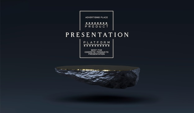Kamienne podium do prezentacji produktów. cokół marmurowo-czarny i złoty, stojak na produkty. minimalistyczne umiejscowienie obiektu, platforma z kamiennej płyty produktu kosmetycznego.