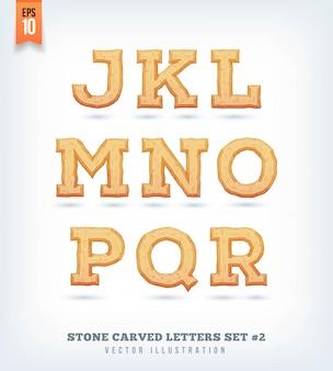 Kamienne rzeźbione litery, cyfry i symbole krojów. ilustracja.