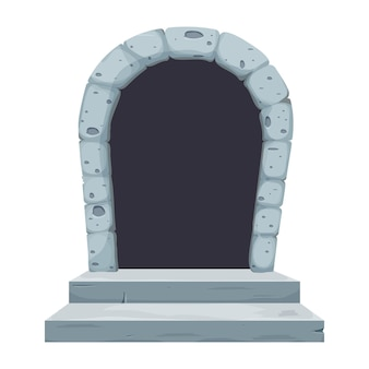 Kamienny zamek łuk drzwi okno komiks w stylu kreskówki