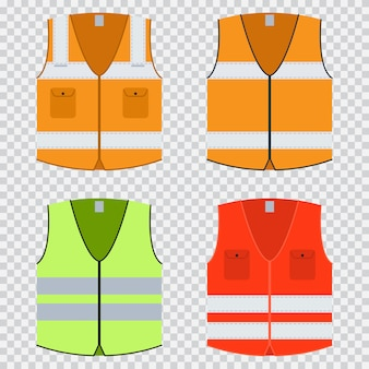 Kamizelka bezpieczeństwa wektor płaski zestaw. kurtka konstrukcyjna w kolorze pomarańczowym, czerwonym i jasnozielonym z odblaskowymi paskami. mundury na białym tle
