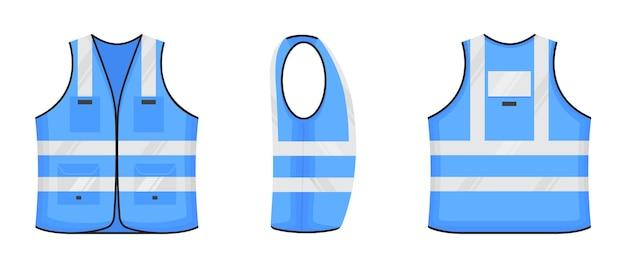 Kamizelka odblaskowa bezpieczeństwa ikona znak płaski projekt wektor ilustracja zestaw jasnoniebieski fluorescencyjny