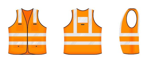 Kamizelka odblaskowa bezpieczeństwa ikona znak płaski projekt wektor zestaw ilustracji