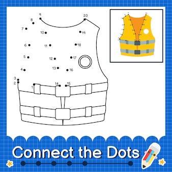 Kamizelka ratunkowa kids łączy kropki arkusz roboczy dla dzieci od 1 do 20
