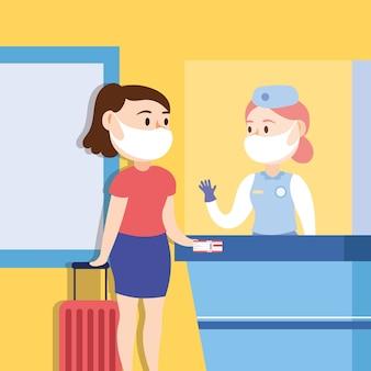 Kampania bezpiecznej podróży z podróżującą kobietą noszącą maskę w projekcie ilustracji wektorowych chekin point