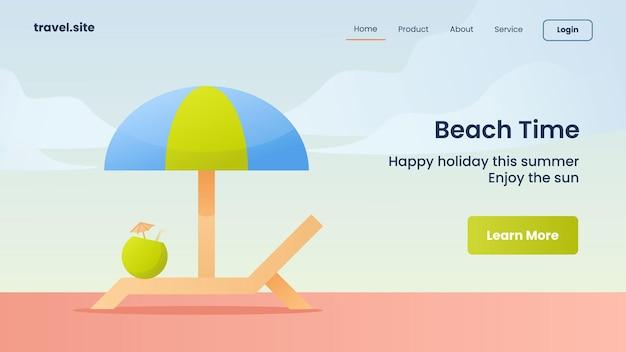 Kampania czasu na plażę dla szablonu banera strony głównej strony głównej witryny internetowej