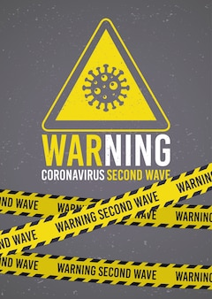 Kampania drugiej fali covid19 z cząsteczką wirusa w trójkącie z taśmami