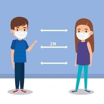 Kampania dystansu społecznego dla covida 19 z dziećmi przy użyciu ilustracji ilustrującej maskę na twarz